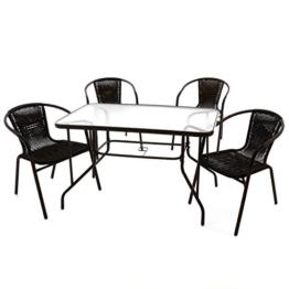5er Bistroset Garnitur Sitzgruppe Gartengarnitur Glastisch eckig braun Balkon mit Schirmloch 4 Stühle braun wetterfest witterungsbeständig Stahlrahmen -