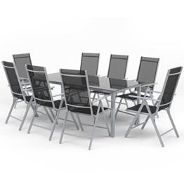 Alu Sitzgarnitur Gartenmöbel Set 9-teilig Garnitur Sitzgruppe 1 Tisch 190x87 + 8 Stühle -
