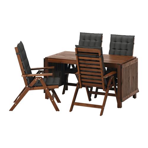 ikea pplar 4 sessel 1 ausklappbarer tisch holz div farben gro e auswahl top. Black Bedroom Furniture Sets. Home Design Ideas