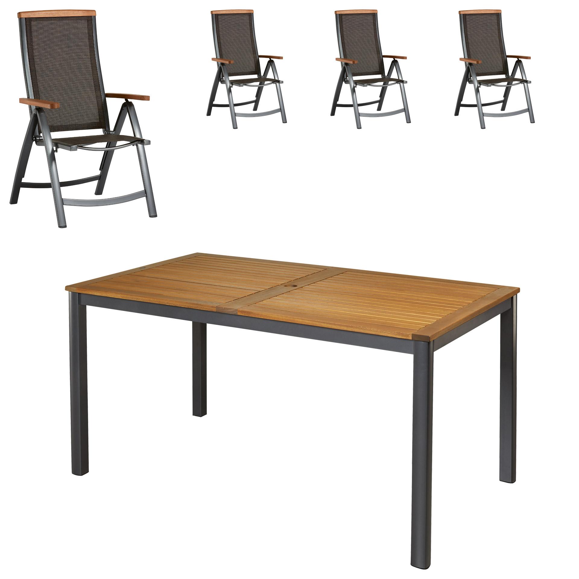 gartenm bel set san francisco santiago 89x150 4 st hle gro e auswahl top angebote. Black Bedroom Furniture Sets. Home Design Ideas