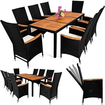 PolyRattan Sitzgruppe 8+1 neigbaren Rückenlehnen Tisch aus Akazienholz Gartenmöbel Gartenset Sitzgarnitur Rattan -