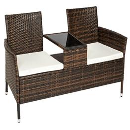 TecTake Sitzbank mit Tisch Poly Rattan Gartenbank Gartensofa inkl. Sitzkissen schwarz braun -